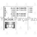 CIVIC PiSTON SEKMANSIZ 01-06 D16V1 STD